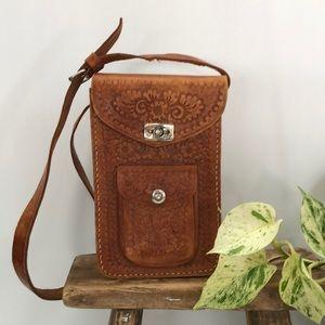 Vintage Tooled Leather Bag Tan Rectangle Pocket